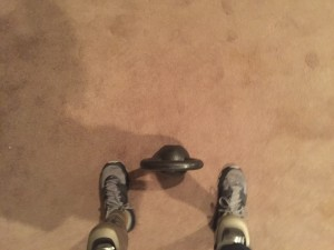 Feet are about hip width here. Starting wider will be easier, notice that I'm keeping the kettlebell in line with my toes. As I pick the bell up, my shoulders and hands should align directly over the bell and pull it in towards me. You can also start with the kettlebell closer, but I feel like this causes too much of a forward weight shift.